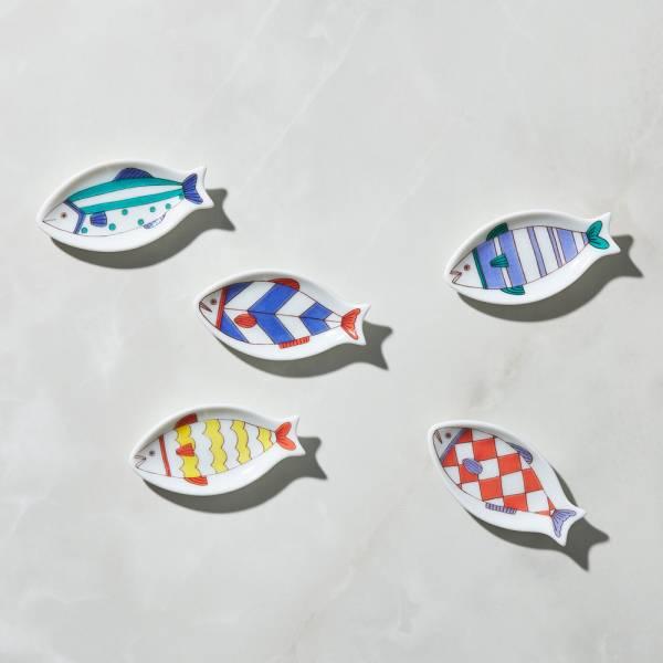 日本晴九谷燒 - 魚豆皿筷架(5入組) ★ 全部日本原裝精緻禮盒,送禮適宜