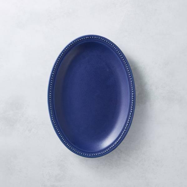 日本KOYO美濃燒 - 珍珠邊橢圓淺盤 - 紺青 歐風,餐盤,陶盤,日本製,食器,手工,檢驗合格