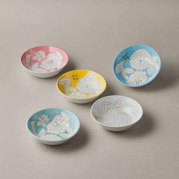 日本美濃燒 - 粉染花朵碗禮盒組 (5件式) - 13.3cm ★ 高質感、安心無毒,日常食器首選
