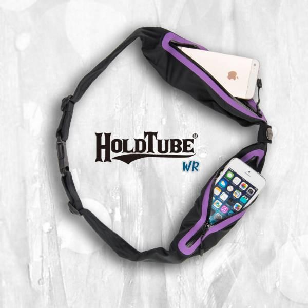 HOLDTUBE 運動腰帶-防潑水雙口袋-黑紫 運動腰帶、水瓶袋、時尚單品、運動配件