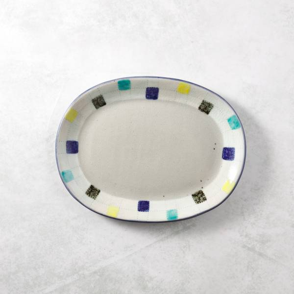 日本設計師系列 - 童趣彩色方格麵包盤 手繪,手作,職人,日本製,陶器,食器