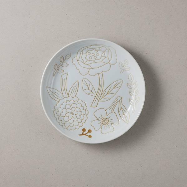 日本美濃燒 - 粉染花朵盤 - 純白 (19.5cm) ★ 高質感、安心無毒,日常食器首選