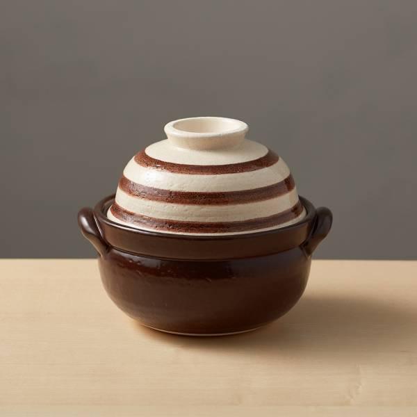 日本萬古燒-兩用蓋碗土鍋-咖啡條紋(1.1L) 日本,原裝進口,陶鍋,土鍋,主婦必備,直火,遠紅外線,保留原味,多用,蓄熱,節能