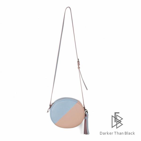 DTB 真皮拼接小圓相機包 - 天藍 x 灰粉 圓包,經典,優雅,真皮,原創,設計師,台灣設計,皮革,輕軟,質感