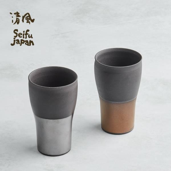 日本AWASAKA美濃燒- 金銀薄月長陶杯組 (2件式) 日本,陶杯,酒杯,茶杯,水杯
