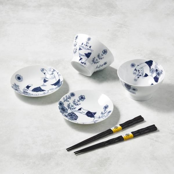 日本澤藍美濃燒 - 花園藍貓碗盤禮盒組-附筷(6件式) 陶杯,日本製,食器,手工,檢驗合格,貓