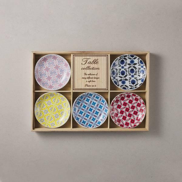 日本美濃燒 - 編織小花盤禮盒組 (5件式) - 10.2cm ★ 高質感、安心無毒,日常食器首選
