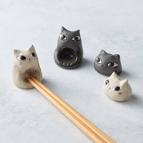 日本KOYO美濃燒 - 陶製手作筷架 - 貓臉-黑 貓奴,貓,日本製,食器,手工,檢驗合格