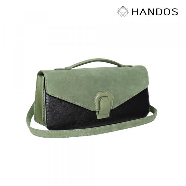 HANDOS|Melodica 二層風琴肩背包 - 抹茶綠↘76折 復古,真皮,設計師,台灣設計,訂製五金,植鞣皮革