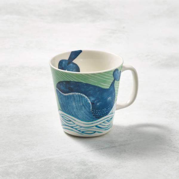 日本澤藍美濃燒 - 海之島系列馬克杯-悠悠藍鯨 陶杯,日本製,食器,手工,檢驗合格,動物,茶杯,馬克杯