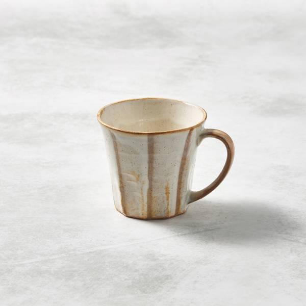 日本KOYO美濃燒- 寬耳馬克杯 - 白底線條 ★ 日本進口品質保證,檢驗合格餐具