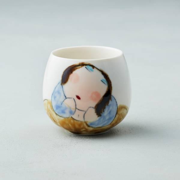吳仲宗|胖太太系列 - 百合杯 - 木蘭白 (黛藍衣) 陶瓷杯;茶杯;泡茶杯;手繪;三芝藝術家