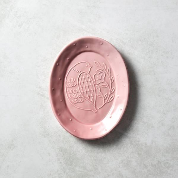 石丸波佐見燒 - 森之歌橢圓鳥盤 - 櫻粉 日本,職人,手製,手做,手作,波佐見燒,人氣,禮品,禮物,療癒,食器,餐具,盤,原裝,收藏,質感