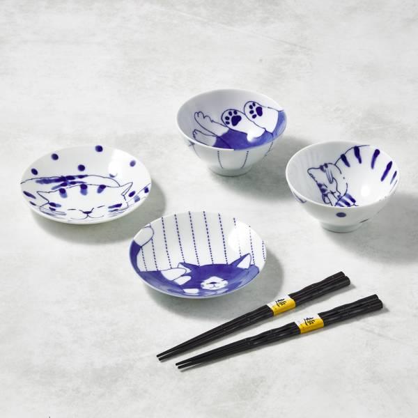 日本澤藍美濃燒 - 仲良貓友碗盤禮盒組-附筷(6件式) 陶杯,日本製,食器,手工,檢驗合格,貓