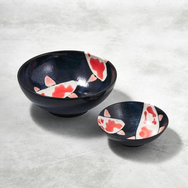 日本AWASAKA美濃燒- 彩鯉釉染 - 錦上添花雙件組 ★ 大容量小食量,一大一小剛剛好