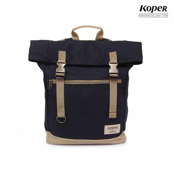 KOPER  不平帆系列-復古雙釦後背包-煙燻黑 後背包、台灣設計製造