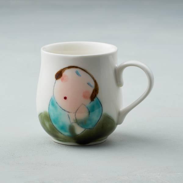 吳仲宗|胖太太系列 - 馬克杯 - 木蘭白 (薄紗藍衣)  陶瓷杯;茶杯;咖啡杯;馬克杯;手繪;三芝藝術家
