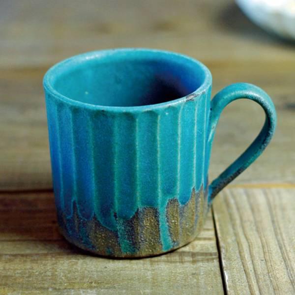 日本窯元益子燒 - 青綠燻刻紋馬克杯