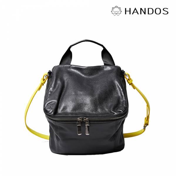 HANDOS|New Pimm's 輕便羊皮休閒肩背包 - 黑x黃 真皮,設計師,台灣設計,訂製五金,植鞣皮革