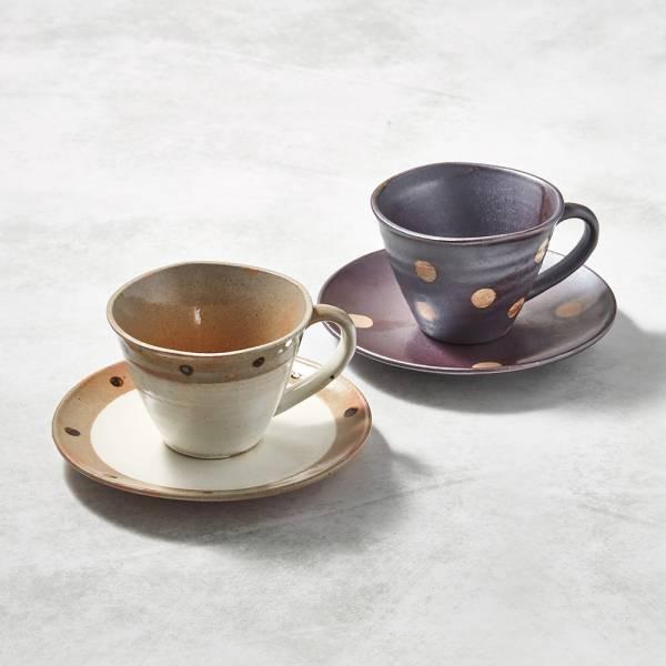 日本KOYO美濃燒- 寬口咖啡杯碟組 - 對杯組(2件式) ★ 日本進口品質保證,檢驗合格餐具