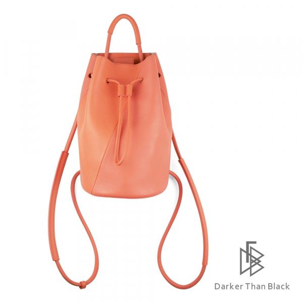 DTB|真皮拼接水桶背包(小) - 亮橘 手提,後背,多用,拼接,水桶包,經典,優雅,真皮,原創,設計師,台灣設計,皮革,輕軟,質感