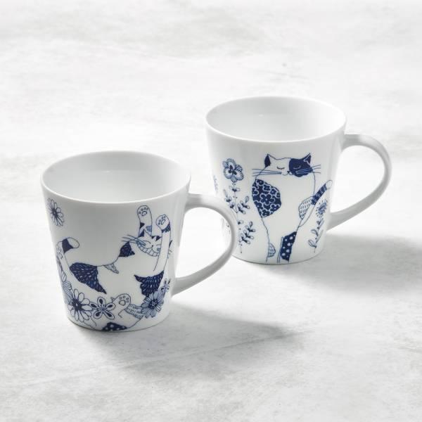 日本澤藍美濃燒 - 花園藍貓馬克杯-禮盒組(2件式) 陶杯,日本製,食器,手工,檢驗合格,貓