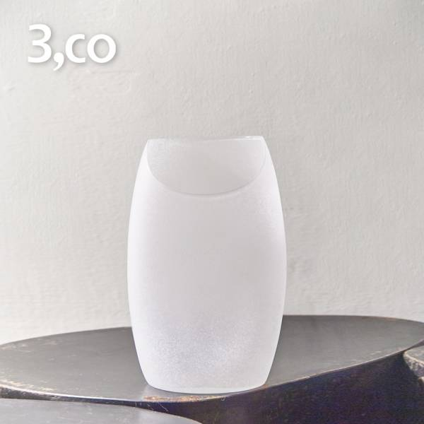 【3,co】玻璃月型口扁平花器(8號) - 白 雕塑,擺飾,光雕,玻璃,藝術,品味,花器,當代,國際,台灣之光,台灣,原創,設計,簡約,生活美學,空間,東方意象,驚豔,精品,禮物,禮品,送禮
