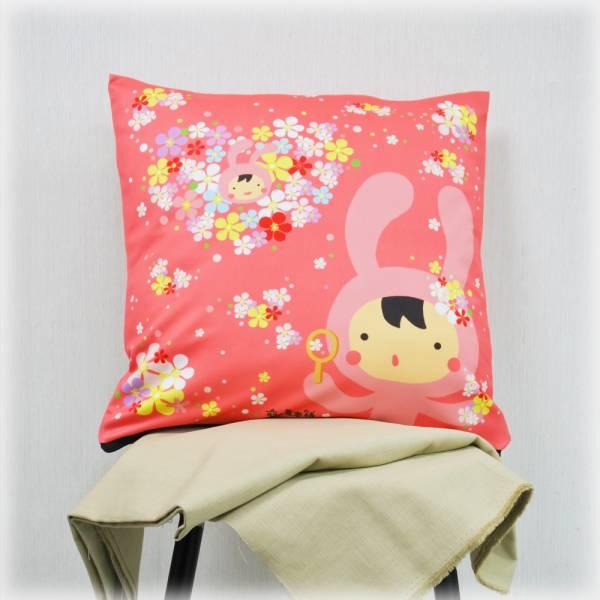 剪刀兔本鋪–抱枕套–七彩泡泡花 枕頭套、寢具、可愛童趣