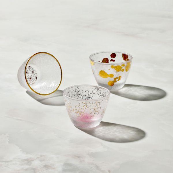 日本富硝子 - 私藏霧面小酌杯 - 三件組 (90ml) 日本,玻璃,玻璃杯,飲料杯,酒杯,清酒杯