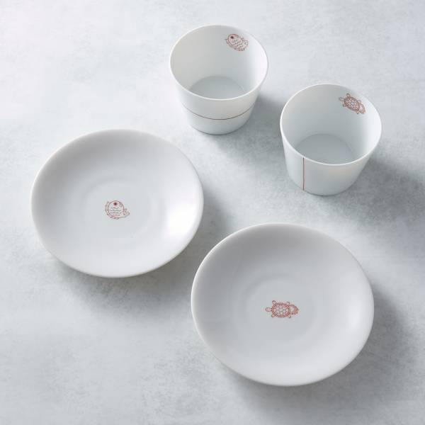 日本AWASAKA美濃燒- 緣起福物杯盤組(4件式) 日本,造型碗,禮盒組,茶碗組,茶杯,點心盤