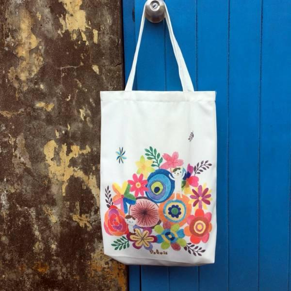 剪刀兔本鋪–雙面帆布袋–花花貓  設計包、肩背包、環保袋、隨身包