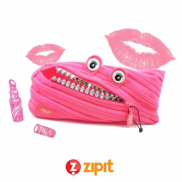 Zipit 怪獸拉鍊包鋼牙版(中)-螢光粉 怪獸拉鍊包、筆袋、化妝包、隨身小包