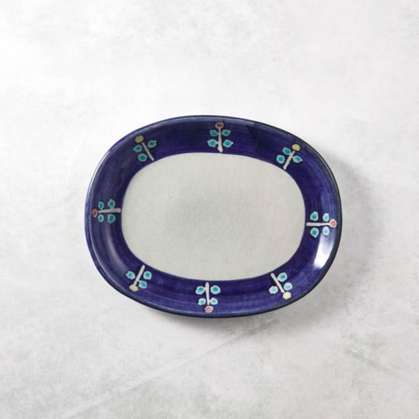 日本設計師系列 - 藍邊小花橢圓麵包盤 手繪,手作,職人,日本製,陶器,食器