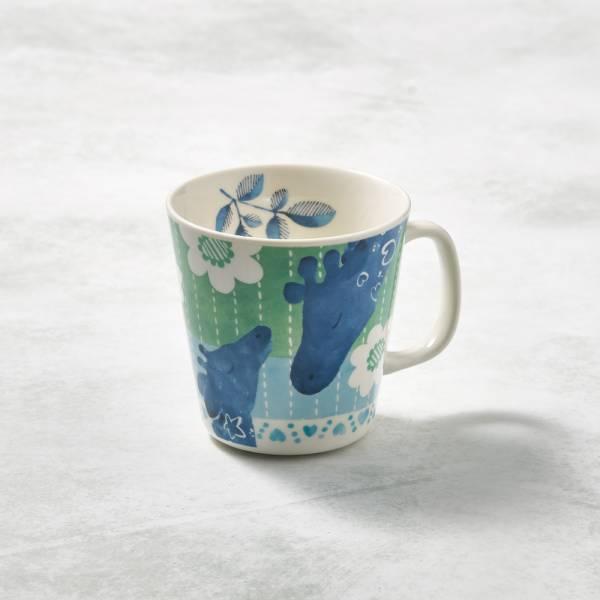 日本澤藍美濃燒 - 森之中系列馬克杯-圓點長頸鹿 陶杯,日本製,食器,手工,檢驗合格,動物,茶杯,馬克杯