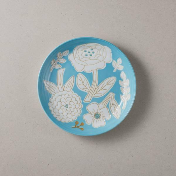 日本美濃燒 - 粉染花朵盤 - 海藍色 (19.5cm) ★ 高質感、安心無毒,日常食器首選