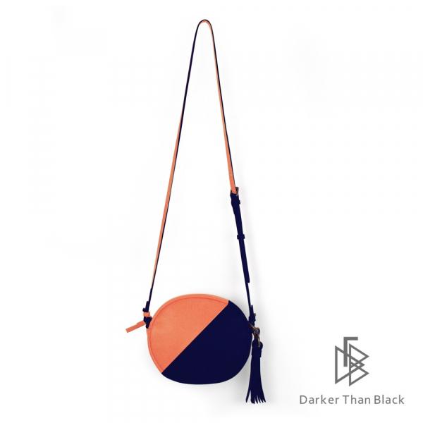 DTB|真皮拼接小圓相機包 - 亮橘 x 海軍藍 圓包,經典,優雅,真皮,原創,設計師,台灣設計,皮革,輕軟,質感