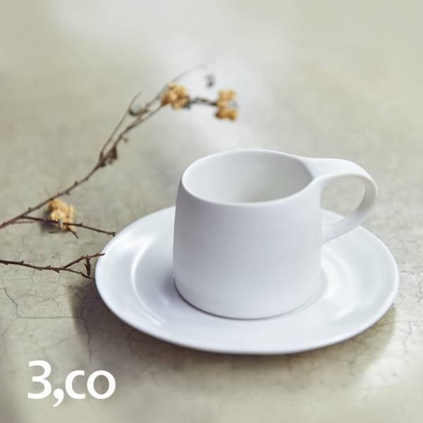 【3,co】卡布奇諾杯碟組(2件式) - 白 咖啡杯,水杯,茶杯,茶具,水波,餐具,食器,米其林,當代,國際,台灣之光,台灣,原創,設計,簡約,生活美學,空間,瓷器,東方意象,驚豔,精品,禮物,禮品,送禮