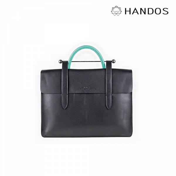HANDOS| Musician 皮革音譜手提包 - 黑 x 藍綠↘76折 復古,音譜包,真皮,設計師,台灣設計,訂製五金,植鞣皮革