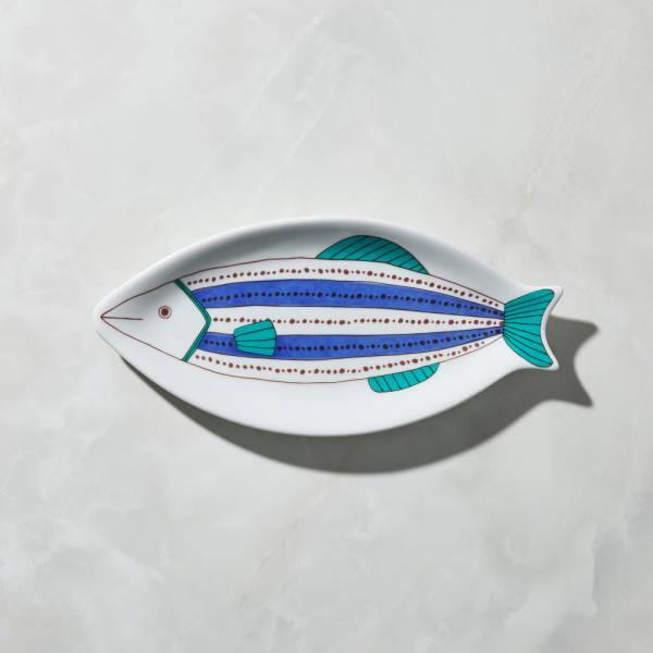 日本晴九谷燒 - 魚大盤 - 點線紋 ★ 全部日本原裝精緻禮盒,送禮適宜