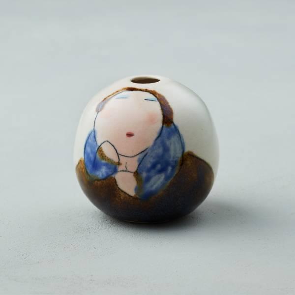 吳仲宗|胖太太系列 - 手做蛋瓶 - 淺水綠 (黛藍衣) 陶瓷;花瓶;擺飾;手繪;三芝藝術家