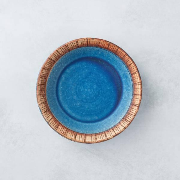 日本KOYO美濃燒 - 細雕紋小盤 - 琉璃藍 餐盤,陶盤,日本製,食器,手工,檢驗合格