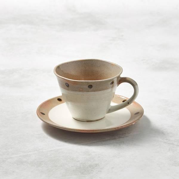日本KOYO美濃燒- 寬口咖啡杯碟組 - 摩卡點點 ★ 日本進口品質保證,檢驗合格餐具