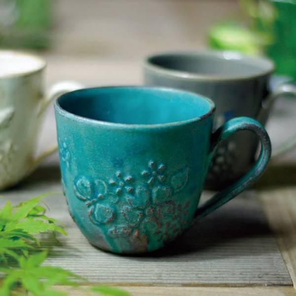日本窯元益子燒 - 花園燻雕紋馬克杯 - 青綠