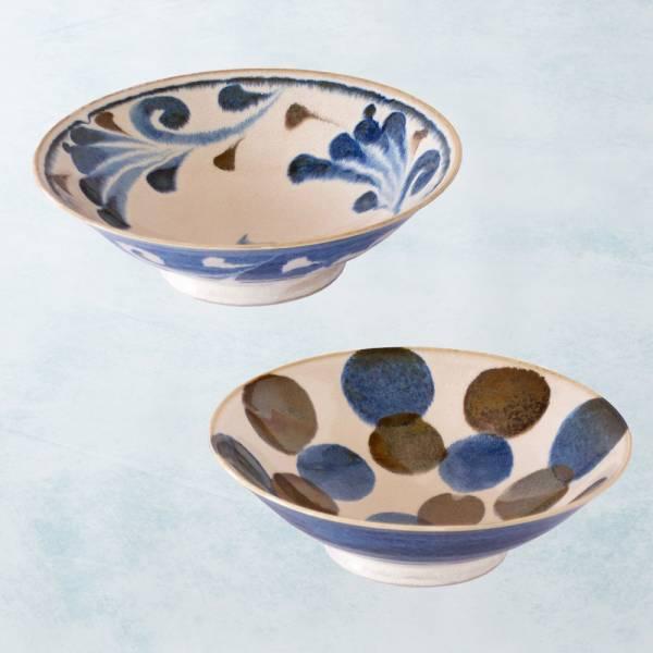 日本AWASAKA美濃燒- 筆青釉繪寬口大碗組(2件式) 日本,原裝進口,丼碗,沙拉碗,麵碗