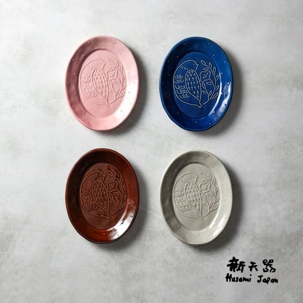 石丸波佐見燒 - 森之歌橢圓鳥盤 - 4件組 日本,職人,手製,手做,手作,波佐見燒,人氣,禮品,禮物,療癒,食器,餐具,盤,原裝,收藏,質感