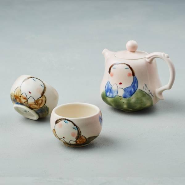 吳仲宗|胖太太系列 - 福祿平安茶組 - 藕粉 (三件式) 陶瓷壺;茶壺;下午茶;手繪;三芝藝術家