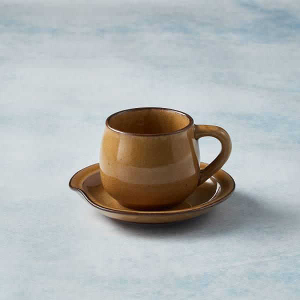 日本KOYO美濃燒 - 圓口咖啡杯碟組 - 赭黃 陶杯,日本製,食器,手工,檢驗合格