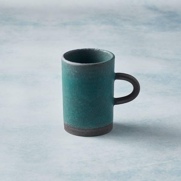 日本KOYO美濃燒 - 圓柄直筒馬克杯 - 青綠 陶杯,日本製,食器,手工,檢驗合格