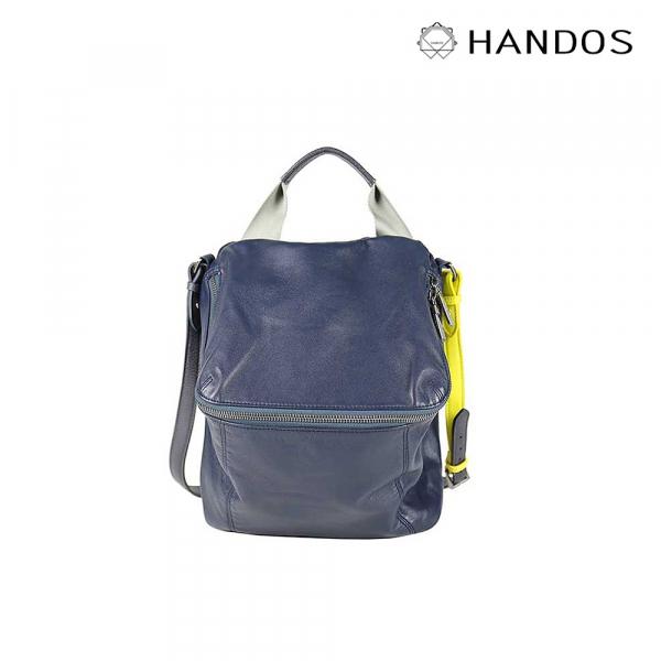 HANDOS|Pimm's 輕便羊皮休閒肩背包 - 藍 X 黃 水洗,真皮,設計師,台灣設計,訂製五金,植鞣皮革