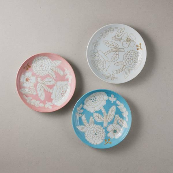 日本美濃燒 - 粉染花朵盤 - 3件組 (19.5cm) ★ 高質感、安心無毒,日常食器首選